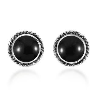 Handmade Classic Stylish Round Inlays Sterling Silver Stud Earrings (Thailand)