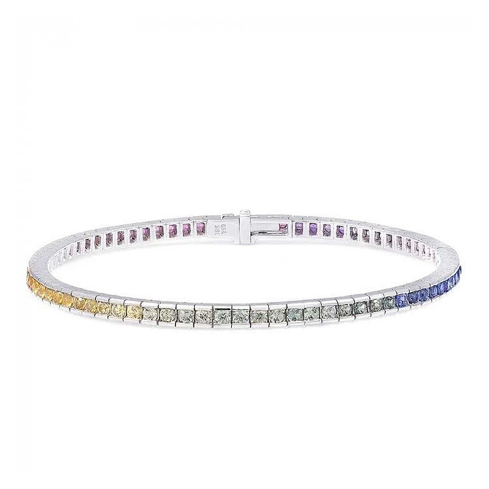 18K White Gold 3.63ct TGW Multi Color Sapphire Rainbow Te...