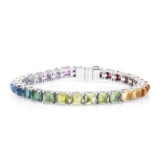 18K White Gold 24.61ct TGW Multi-Gemstone Rainbow Tennis Bracelet