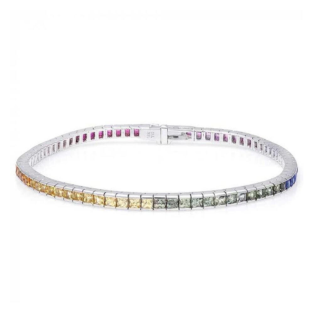 18K White Gold 4.82ct TGW Multi Color Sapphire Rainbow Te...