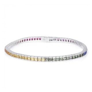 18K White Gold 4.82ct TGW Multi Color Sapphire Rainbow Tennis Bracelet