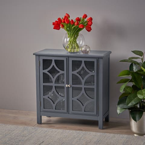 Melora Fir Wood Double Door Cabinet with Tempered Glass Accents by Christopher Knight Home