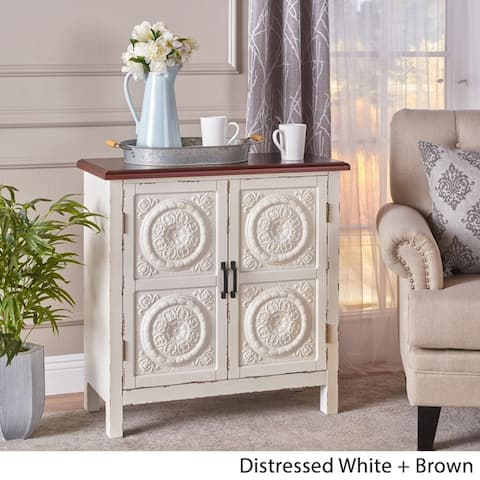 Alana Farmhouse Distressed Firwood Cabinet with Carved Panels