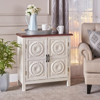 Link to Alana Farmhouse Distressed Firwood Cabinet with Carved Panels Similar Items in Living Room Furniture
