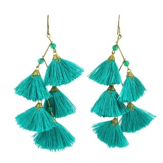 Zig Zag Chandelier Green Tassels Stone Brass Drop Earrings (Thailand)