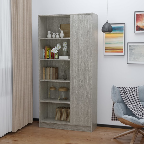 Amelia Mid-Century 5-Shelf Wood Century Cabinet by Christopher Knight Home. Opens flyout.