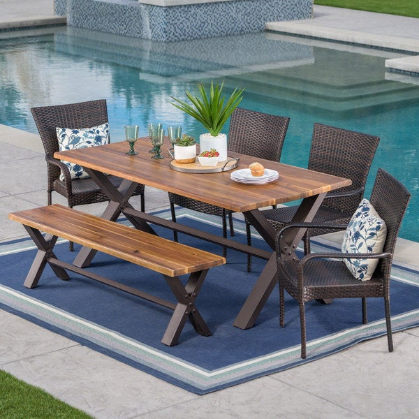 Bullerton Outdoor 6-Piece Rectangle Wicker Wood Dining Set by Christopher Knight Home. Opens flyout.