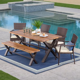 Link to Brandywine Outdoor 6-Piece Rectangle Wicker Wood Dining Set with Cushions by Christopher Knight Home Similar Items in Patio Furniture