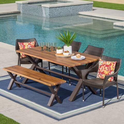 Lakeport Outdoor 6-Piece Rectangle Wicker Wood Dining Set by Christopher Knight Home