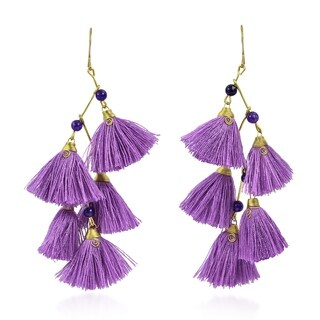 Zig Zag Chandelier Purple Tassels Stone Brass Drop Earrings (Thailand)