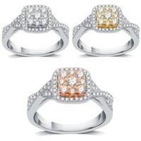 AMOUREUX 14K Gold 1/2 TDW Diamond Two Tone Engagement Ring I-J,I1-I2 - White I-J