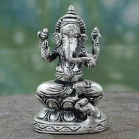 Handcrafted Sterling Silver Overlay Brass 'Magnificent Ganesha' Hinduism Sculpture (India)