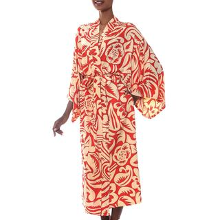 Handmade Rayon 'Denpasar Orange' Robe (Indonesia)