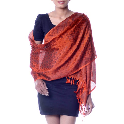 Handmade Banarasi Silk 'Orange Noon' Shawl (India)