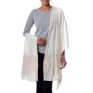 Handmade Cotton Silk 'Ivory Radiance' Shawl (India)
