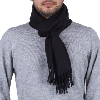 Handmade Men's Alpaca 'Evening Black' Scarf (Peru)