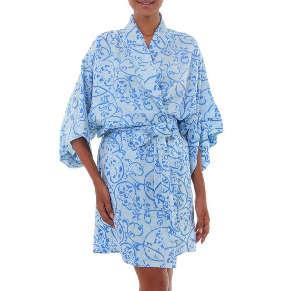 Handmade Rayon 'Underwater' Batik Robe (Indonesia)
