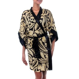 Handmade Silk 'Golden Dusk' Robe (Indonesia)