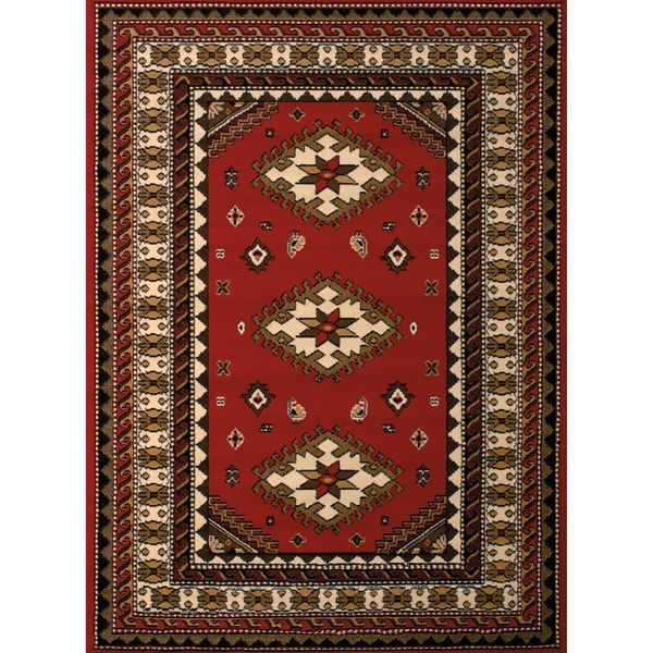 """Westfield Home Montclaire Feranda Traditional Red Accent Rug - 1'11"""" x 3'3"""""""