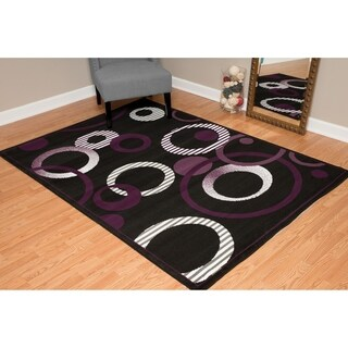 """Westfield Home Montclaire Contemporary Abstract Circles Plum Accent Rug - 1'11"""" x 3'3"""""""
