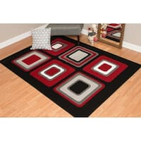 """Westfield Home Montclaire Contemporary Color Blocks Red Area Rug - 5'3"""" x 7'2"""""""