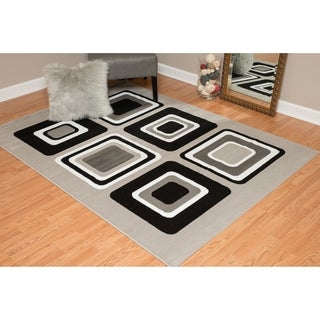 "Westfield Home Montclaire Contemporary Color Blocks Silver Area Rug - 5'3"" x 7'2"""