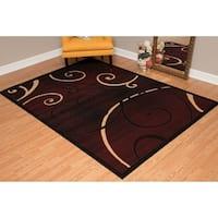 """Westfield Home Montclaire Modern Swirl Chocolate Runner Rug - 2'3 x 7'2"""""""