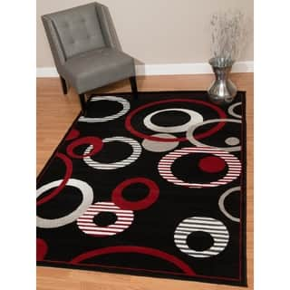 "Westfield Home Montclaire Contemporary Abstract Circles Black Area Rug - 5'3"" x 7'2""