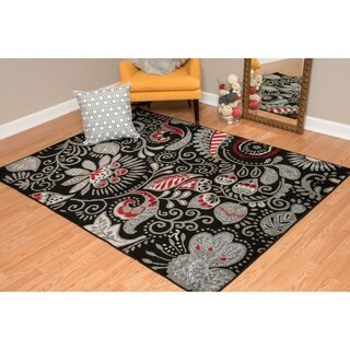 "Westfield Home Montclaire Circle Block Red Area Rug - 5'3"" x 7'2"""