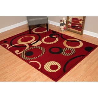 "Westfield Home Montclaire Contemporary Abstract Circles Red Area Rug - 5'3"" x 7'2"""