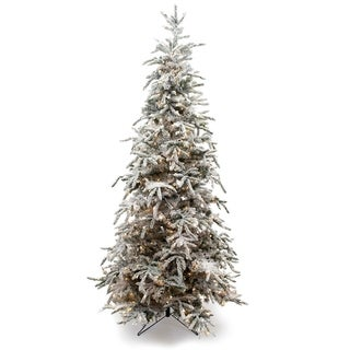 Link to 9' Flocked Balsam Prelit Christmas Tree Similar Items in Christmas Greenery