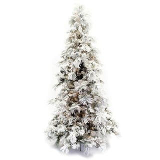 artificial 9 foot flocked long needle pine christmas tree