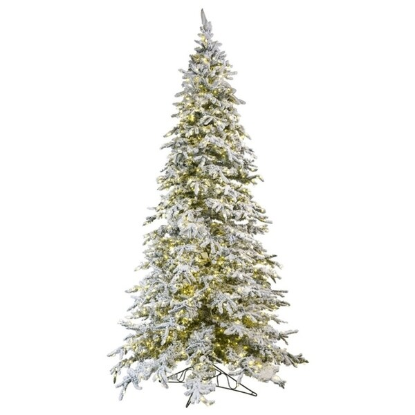 12 Ft Flocked Christmas Tree: Shop Balsam Pine Green/White 12-foot Flocked Artificial