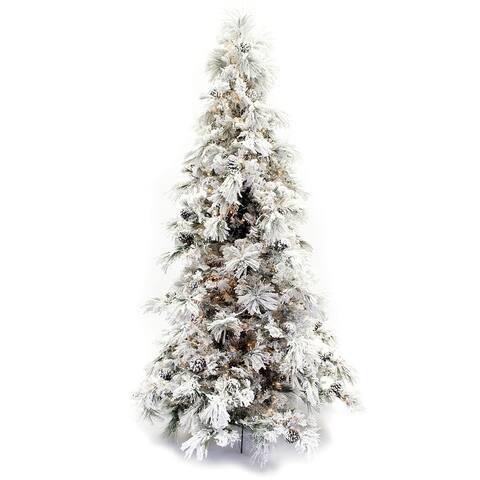 7.5' Flocked Pine Long Needle Prelit Christmas Tree