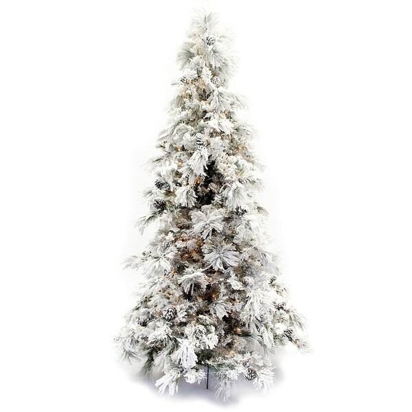 Christmas Tree Needles: Shop 7.5' Flocked Pine Long Needle Prelit Christmas Tree