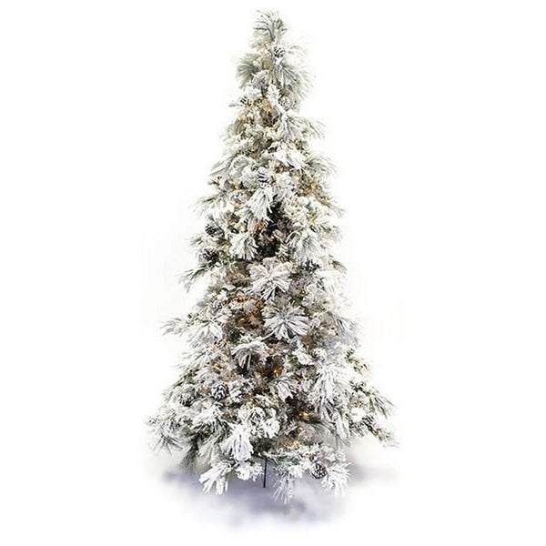greenwhite 75 foot flocked faux pine long needle pre lit christmas