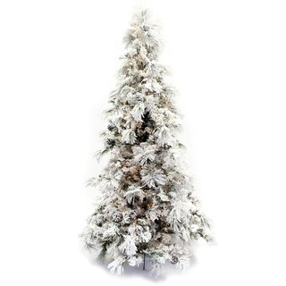Green/White 7.5-foot Flocked Faux Pine Long-needle Pre-lit Christmas Tree