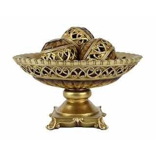 D'Lusso Designs Rossetta Collection Four Piece Bowl With Three Orbs Set
