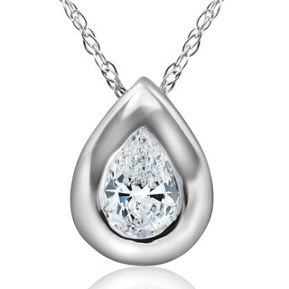 Bliss 14k White Gold 1/3 ct TDW Solitaire Bezel Pear Shape Diamond Lab Grown Pendant Necklace (E/VS)