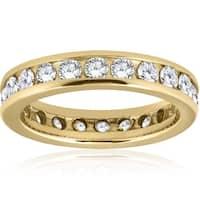Bliss 14k Yellow Gold 2 ct TDW Diamond Channel Set Eternity Band Womens Wedding Ring - White