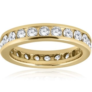 Bliss 14k Yellow Gold 2 ct TDW Diamond Channel Set Eternity Band Womens Wedding Ring - White