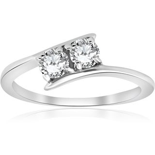 Bliss 10k White Gold 1/2 ct Two Stone Solitaire Diamond Engagement Round Cut Ring