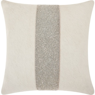 """Mina Victory Couture Natural Hide Shimmer Stripe White Silver Throw Pillow (18"""" x 18"""")"""