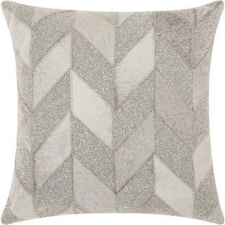 Mina Victory Couture Natural Hide Shimmer Chevron White Silver Throw Pillow (18-Inch X 18-Inch)