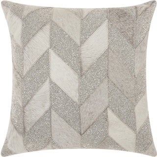 """Mina Victory Couture Natural Hide Shimmer Chevron White Silver Throw Pillow (18"""" x 18"""")"""