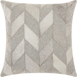 "Mina Victory Couture Natural Hide Shimmer Chevron White Silver Throw Pillow (18"" x 18"")