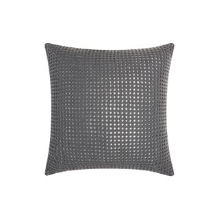 "Mina Victory Couture Natural Hide Woven Metallic Grey Silver Throw Pillow (20"" x 20"")