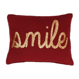 """Smile"" Sequin Script Faux Linen Pillow"