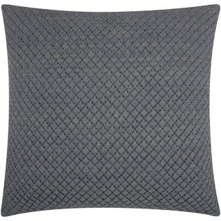 """Mina Victory Couture Natural Hide Woven Leather Grey Throw Pillow (20"""" x 20"""")"""