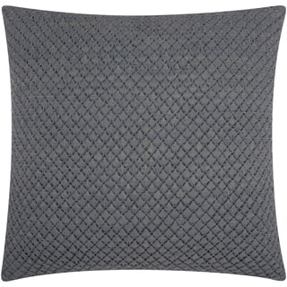 "Mina Victory Couture Natural Hide Woven Leather Grey Throw Pillow (20"" x 20"")